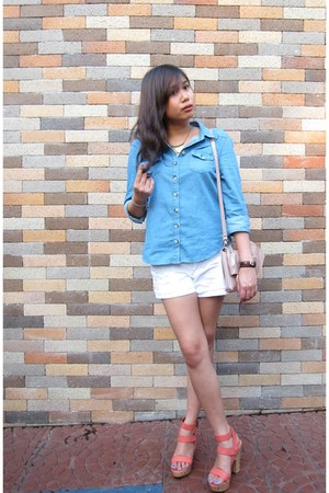 blue Topshop shirt - white Forever 21 shorts - salmon Parfois heels - bronze For