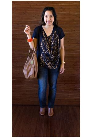 Zara blouse - Nine West boots - Guess jeans - Nine West bag