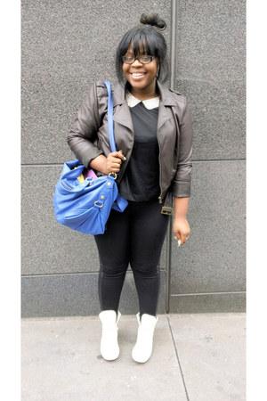 H&M shirt - motorcycle asos jacket - GUSTTO Italy bag