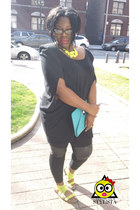 neon Forever21 necklace - Hyden Yoo dress - Helmut Lang leggings - MMS bag