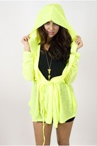 chartreuse sheer hooded jacket