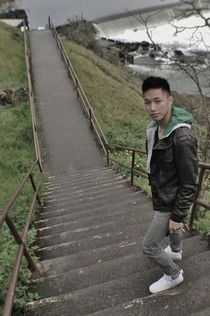 charcoal gray slim H&M jeans - dark brown Diesel jacket