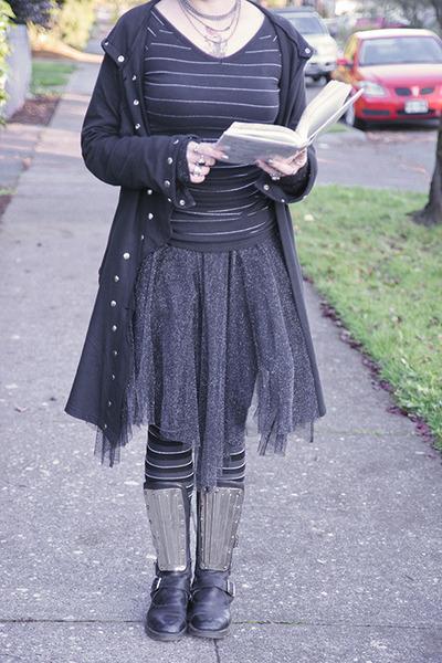 black doc martens boots - black long studded Mishu jacket
