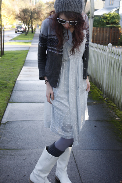 white Agora boots - silver unknown dress - silver grey tabbisocks tights