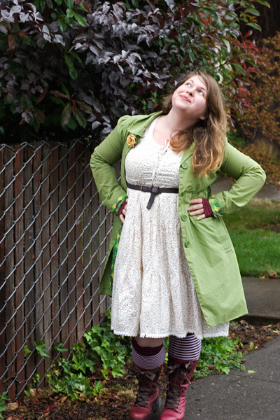 lime green jacket - maroon triumph doc martens boots - ivory Rouge dress