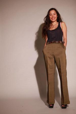 leather vintage belt - bronze high waisted Cerruti pants - Zara sandals