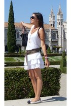 white Zara skirt - white Massimo Dutti shirt - gray hakei belt - black Tom Ford