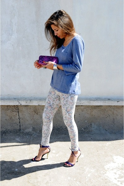 deep purple stephane kelian sandals - hot pink Polish leggings - blue H&M top