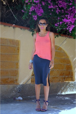 coral H&M top - purple stephane kelian shoes - gray vintage skirt