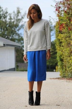 blue asos dress - black Zara boots - silver Zara sweater
