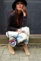 navy Mango jumper - light brown Aldo boots - sky blue Mango jeans - Topshop bag
