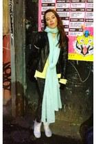 aquamarine H&M scarf - black warehouse jacket - yellow H&M jumper