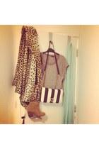 asos coat - brown Aldo boots - aquamarine mint scarf H&M shirt - Accessorize bag