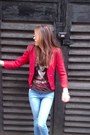 Blue-new-look-jeans-red-red-blazer-mango-blazer-bubble-gum-h-m-sunglasses