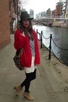red Zara cardigan - bronze Aldo boots - army green Topshop hat - Aldo bag