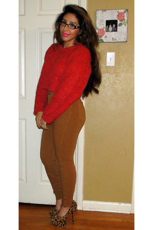 crop sweater Cheap Monday sweater - aa pants - cheetah print kandee shoes pumps