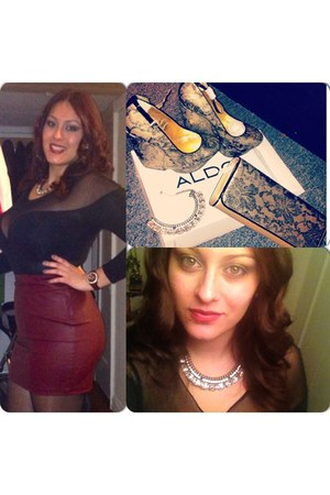 Forever 21 skirt - Aldo purse - Aldo wedges - my mothers closet  blouse