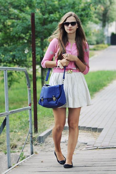 pink H&M sweater - ivory Zara skirt