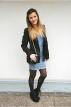 Zara boots - asos dress - Zara blazer - Zara purse