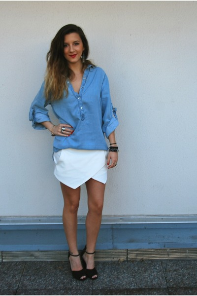 Zara shirt - Zara shorts - Zara heels - new look earrings