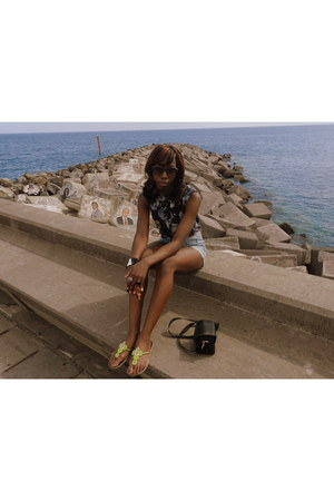 violet H&M shorts - dark brown Mr Price sunglasses - chartreuse beaded sandals