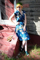 green vintage hat - green Jeffrey Campbell shoes - blue vintage dress