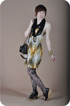 gold Industry dress - black 8020 shoes - black jacey chay purse - black modcloth