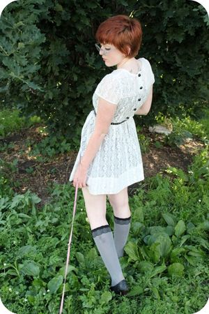 white Dahlia dress - gray Betsey Johnson socks - black Jeffrey Campbell shoes