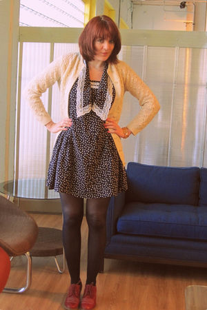 Dahlia dress - UO tights - vintage cardigan - Jeffrey Campbell shoes