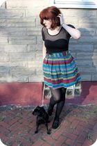BB Dakota skirt - bb dakota dress top - F21 via Gabes shoes - Target tights