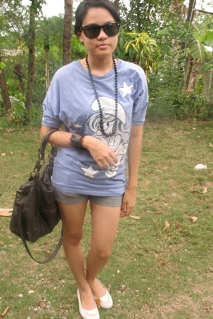 thrifed blouse - made my self necklace - Bazaar accessories - shorts - Keds shoe