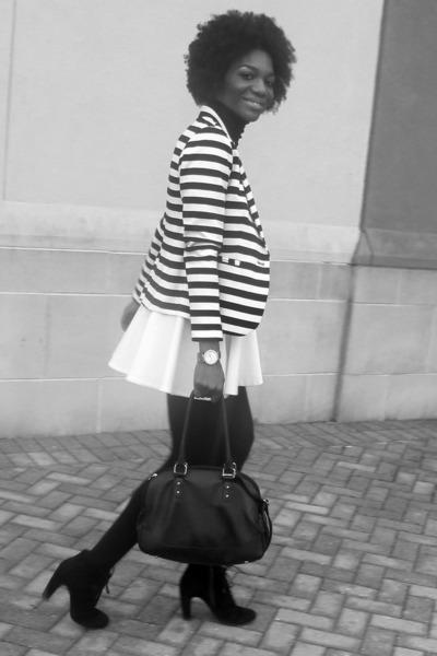 white custom made skirt - black Seychelles boots - white Nordstrom blazer