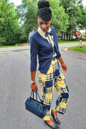 yellow patchwork thrifted vintage pants - navy penny GH Bass loafers