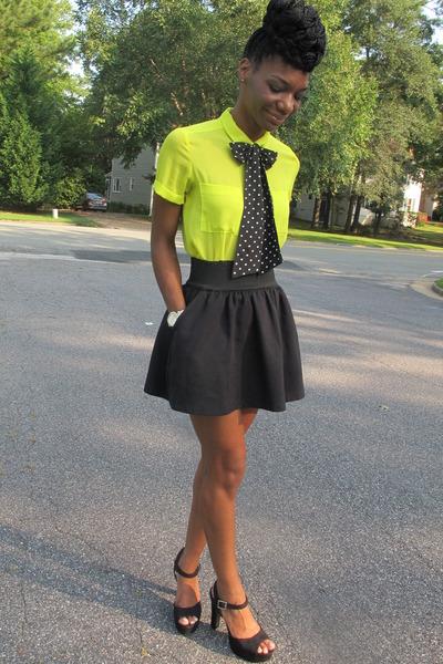 lime green blouse - black skirt