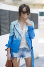 Blue-walter-baker-jacket-light-blue-zara-shorts-off-white-sheer-mango-top
