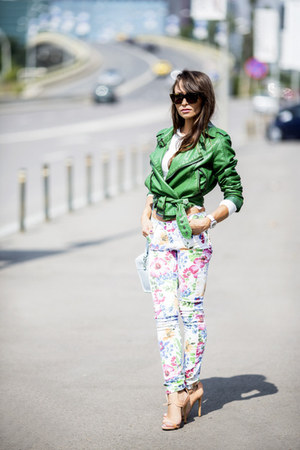white flowers print River Island jeans - green faux leather Review jacket