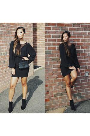 black JustFab boots - black H&M blouse