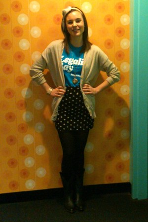 American Apparel t-shirt - polka dot skirt Forever 21 skirt - BCBGeneration card