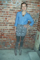 grey cowboys zodiac boots - sky blue blue chambray H&M shirt - glitter Urban Out