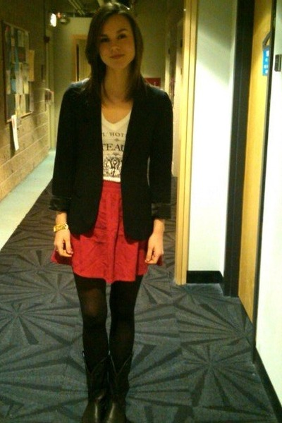 dogeared necklace - black vintage cowboy boots - black Urban Outfitters blazer