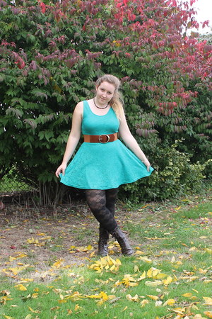 belt - boots - turquoise lace dress - black patterned tights