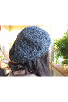 slouchy knit hat - heather gray knit accessories