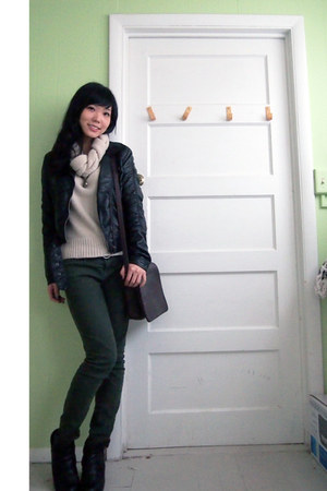 boots - olive green jeans - leather jacket H&M jacket
