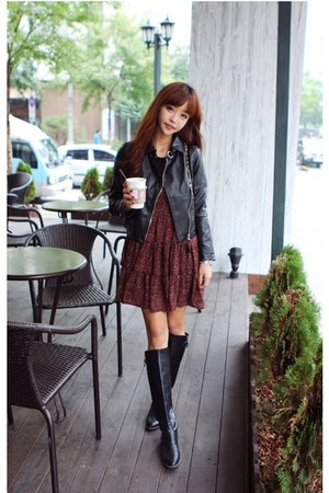 black leather jacket - brick red dress