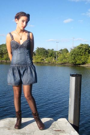 blue Guess dress - dark brown DSW tights - dark brown camper boots - black Forev