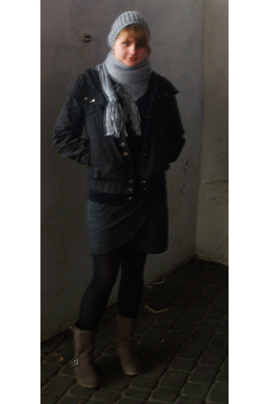 H&M hat - H&M scarf - reserved jacket - reserved sweater - reserved dress - rese