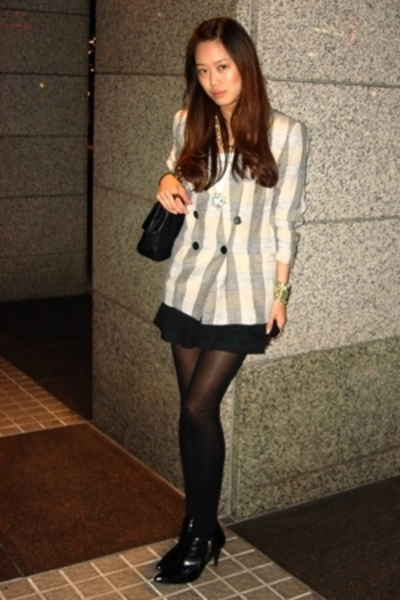 blazer - forever 21 skirt - H&M tights - shoes