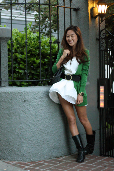 green cardigan Zara jacket - black secondhand boots - white vintage dress