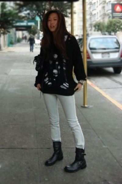 DIY sweater - Hudson jeans - Dirty Laundry boots