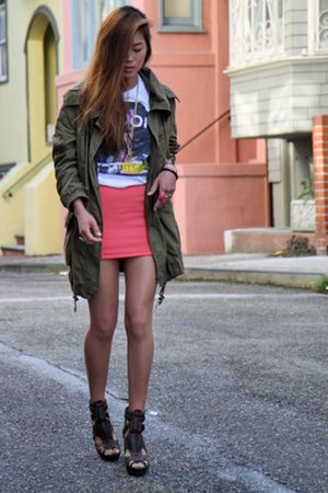 green parka f21 jacket - brown Zigi shoes - white Hell Bellz t-shirt